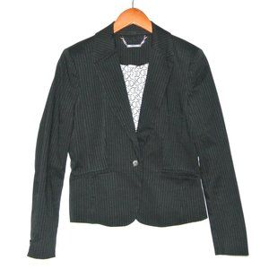 White House Black Market Pinstripe Blazer Black 8